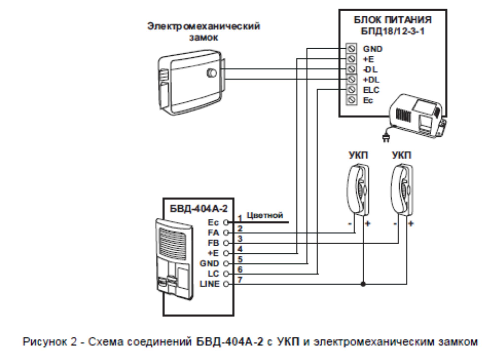 Схема подключения вызывной панели к электромагнитному замку